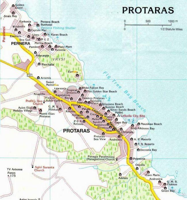 Протарас - пляж. Протарас - карта. Пляжі протараса - фото