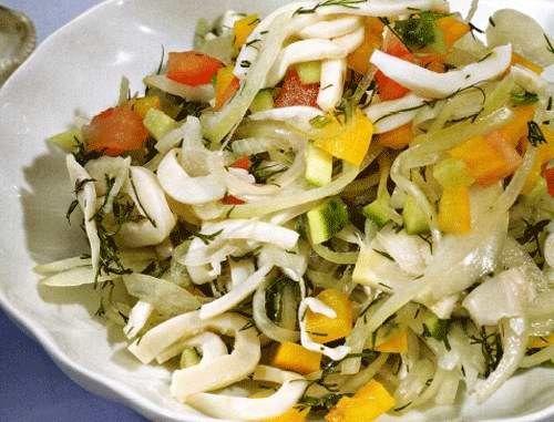 Рецепти салатів з кальмарами