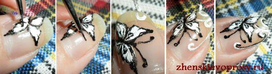 метелики на нігтях фото